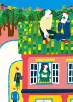 屋根に座っているカップルと町並み