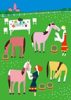 牧場で馬に餌をやる女性