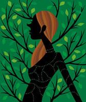 緑を背景に佇む女性