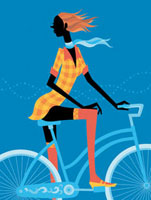 自転車に乗って振り向く女性