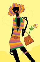バッグを持ってショッピングに出かける女性