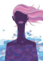 髪がなびいている女性