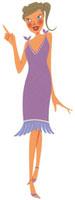 人差し指を上に向けワンピースを着た女性 02463000507| 写真素材・ストックフォト・画像・イラスト素材|アマナイメージズ