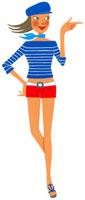 スカーフをまいて指をさすショートパンツの女性 02463000510| 写真素材・ストックフォト・画像・イラスト素材|アマナイメージズ