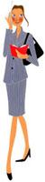手帳を持ち携帯電話で話すスーツをきた女性 02463000511| 写真素材・ストックフォト・画像・イラスト素材|アマナイメージズ