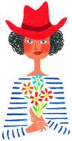 手に花を持ち赤い帽子をかぶった女性