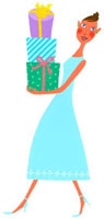 プレゼントを手にもっている女性