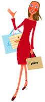 ショッピングバッグを持って笑っている女性