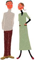 秋服を着ている夫婦