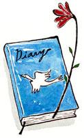 表紙に鳥が描かれている青い本 02463000525| 写真素材・ストックフォト・画像・イラスト素材|アマナイメージズ