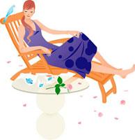 青い鳥とイスに座っている女性