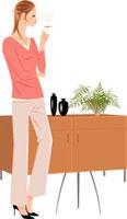 紅茶を飲んでいる女性