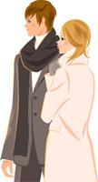 コートを着ているカップルの横向きの姿