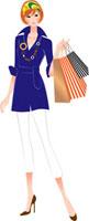 ショッピングバッグを片手にもつ女性