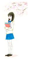 桜の下で佇んでいる女子高生