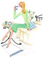 ベッドに座ってコーヒーを飲んでいる女性 02463000553| 写真素材・ストックフォト・画像・イラスト素材|アマナイメージズ