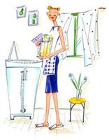 洗濯カゴをもっている女性