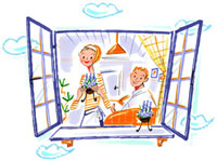窓辺に立つ女性と座って本を読む男性