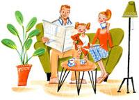 お茶をしながらソファに座っている親子