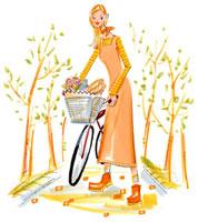 自転車のカゴに食材や花を入れて歩く女性