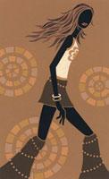 茶色いミニスカートを履いて歩いている女性