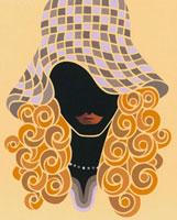 帽子をかぶった巻き髪の女性