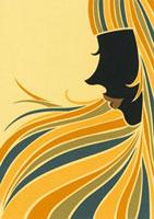 ロングヘアの横顔の女性