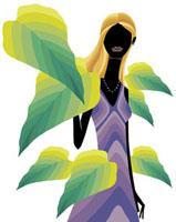 大きな葉に囲まれた女性