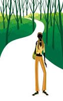 林道にたたずむロングヘアの女性