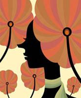 サイケデリックな花に囲まれた女性の横顔