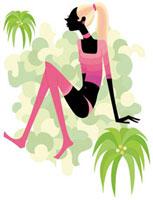 ピンクのハイソックスを履いたポニーテールの女性
