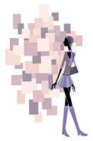 ブーツを履いて歩くミニスカートの女性