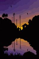 夕暮れの川沿い