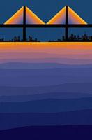海から見た夜の都会の街並み