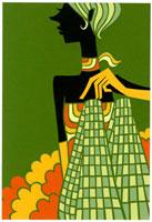市松模様のズボンで座るショートヘアの女性