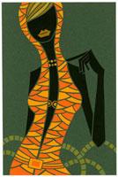 フードをかぶっている女性