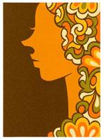 サイケデリックな髪型の女性横顔