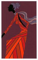 スカーフを巻いてロングワンピースを着ている女性