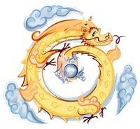 円形にとぐろを巻く金色の龍