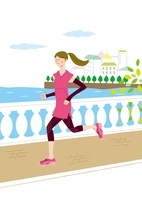 橋の上をマラソンしている女性