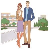 マンションをバックに佇む夫婦 02463000712| 写真素材・ストックフォト・画像・イラスト素材|アマナイメージズ