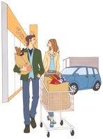 ショッピングカートを押しながら歩いている30代夫婦 02463000713| 写真素材・ストックフォト・画像・イラスト素材|アマナイメージズ