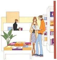 本屋で立ち読みをするカップル 02463000714| 写真素材・ストックフォト・画像・イラスト素材|アマナイメージズ
