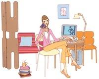 部屋でパソコンをしている女性 02463000715| 写真素材・ストックフォト・画像・イラスト素材|アマナイメージズ