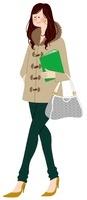ファイルとバッグを持って歩いている女性 02463000732| 写真素材・ストックフォト・画像・イラスト素材|アマナイメージズ