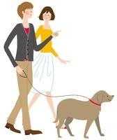 犬の散歩をするカッフ?ル 02463000733| 写真素材・ストックフォト・画像・イラスト素材|アマナイメージズ