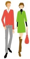 カジュアルな装いのカップル