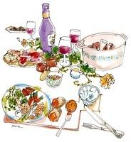 テーブルに並んだコース料理