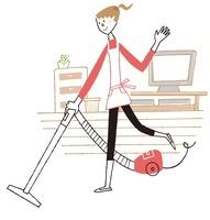 楽しく掃除をしている女性
