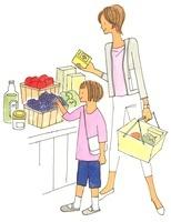 買い物をする親子 02463000760| 写真素材・ストックフォト・画像・イラスト素材|アマナイメージズ